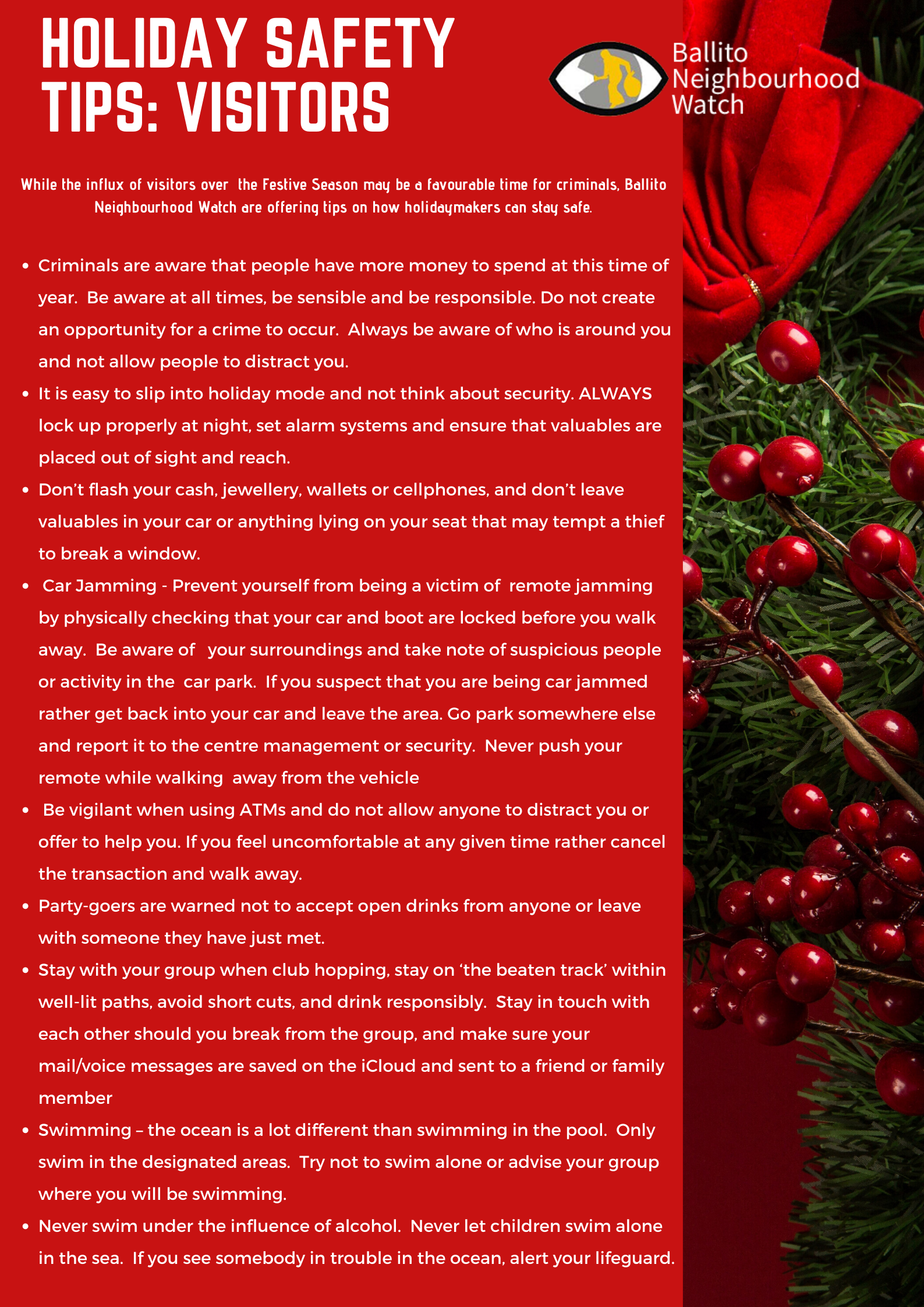 Visitor Holiday Safety Tips