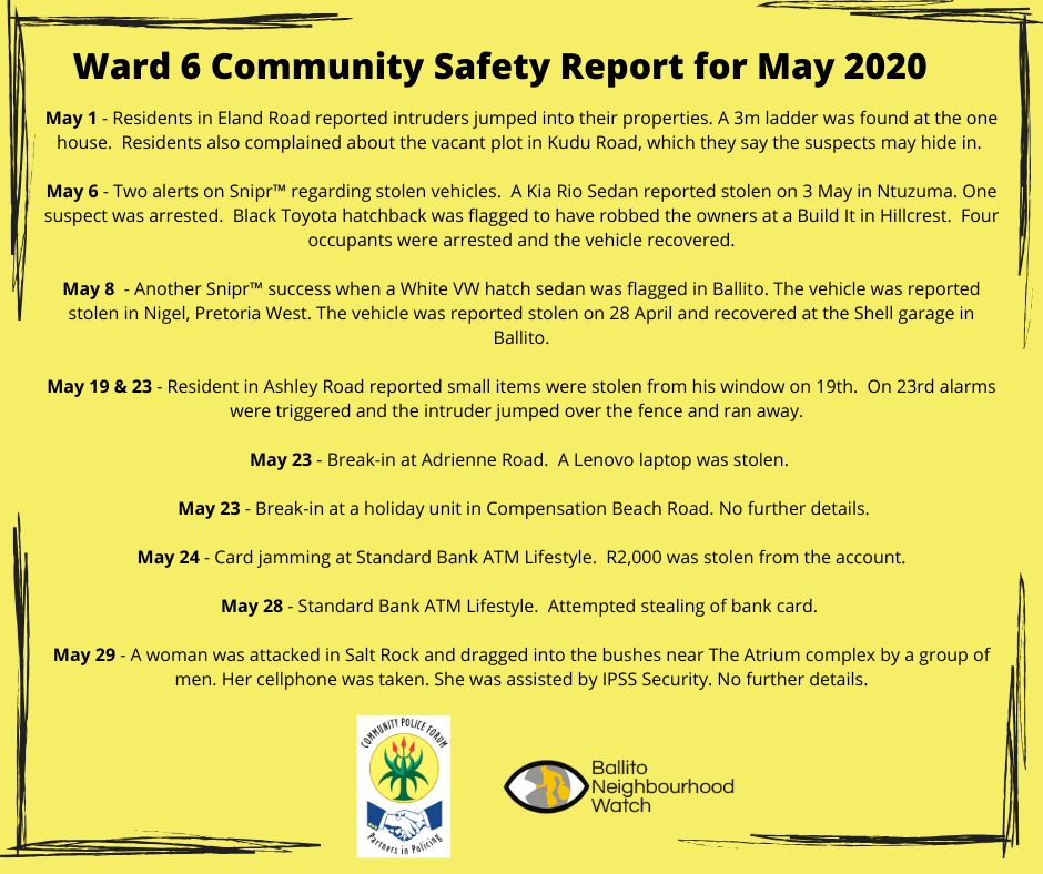 Ward 6 Community Safety Report for May 2020